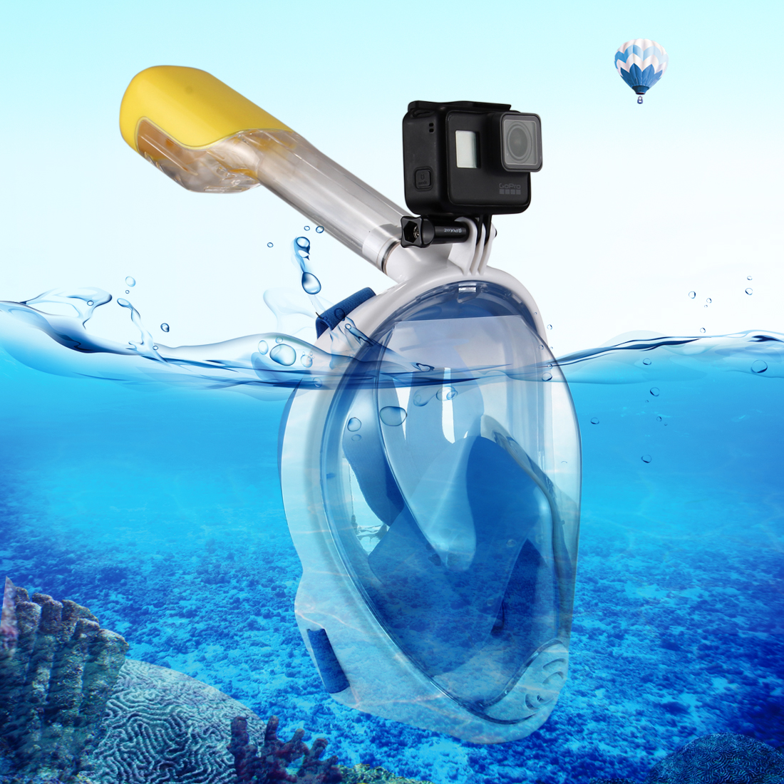 PULUZ I Version Water Sports Diving Equipment Full Dry Snorkel Mask for GoPro HERO5 /4 /3+ /3 /2 /1, S/M Size (Blue)