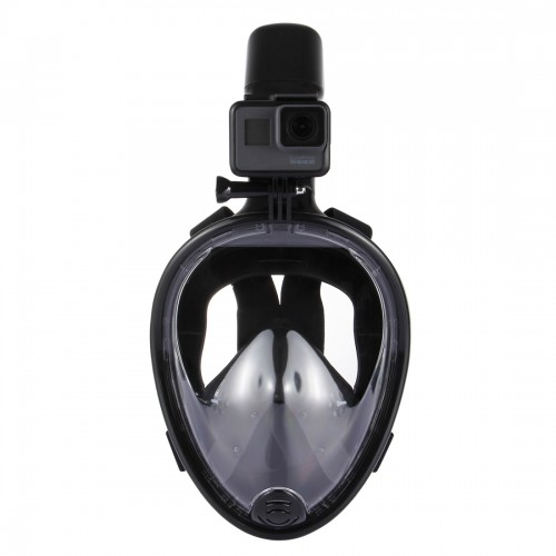 PULUZ 220mm Tube Water Sports Diving Equipment Full Dry Snorkel Mask for GoPro HERO5 /4 /3+ /3 /2 /1, L/XL Size (Black)