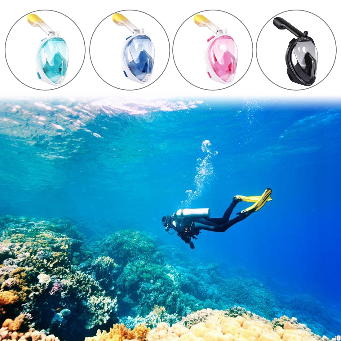 PULUZ 220mm Tube Water Sports Diving Equipment Full Dry Snorkel Mask for GoPro HERO5 /4 /3+ /3 /2 /1, L/XL Size (Blue)