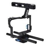 PULUZ Handle Video Camera Cage Steadicam Stabilizer for Sony A7 & A7S & A7R & A7R II & A7S II, Panasonic Lumix DMC-GH4 (Blue)