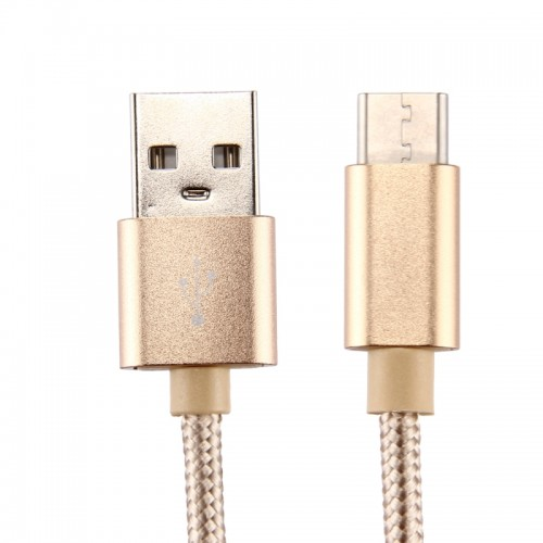 Knit Texture USB to USB-C / Type-C Data Sync Charging Cable for Samsung Galaxy S8 & S8+ / LG G6 / Huawei P10 & P10 Plus / Oneplus 5 / Xiaomi Mi6 & Max 2  / and other Smartphones, 1m (Gold)