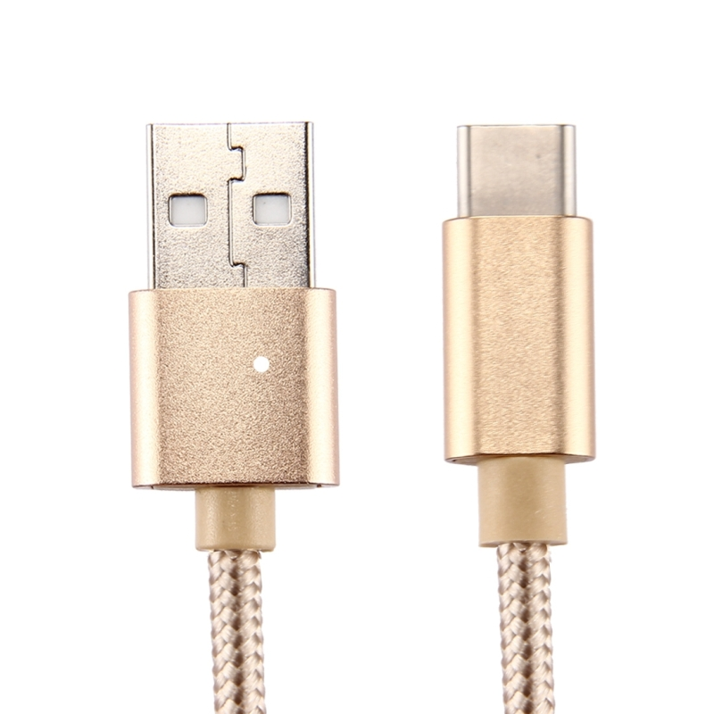 Knit Texture USB to USB-C / Type-C Data Sync Charging Cable for Samsung Galaxy S8 & S8+ / LG G6 / Huawei P10 & P10 Plus / Oneplus 5 / Xiaomi Mi6 & Max 2  / and other Smartphones, 3m (Gold)