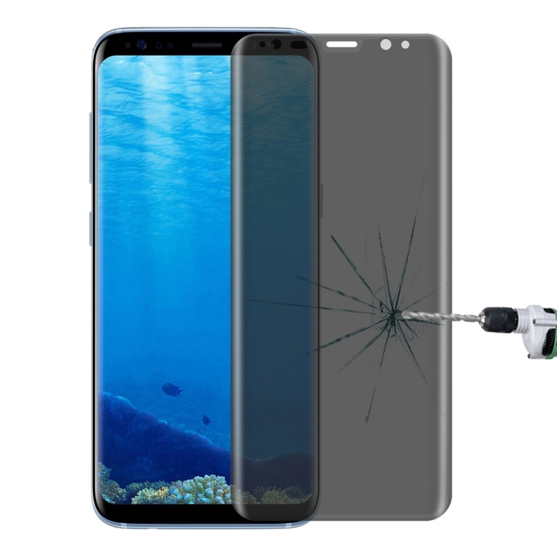 For Samsung Galaxy S8 / G950 0.3mm 9H Surface Hardness 3D Curved Privacy Anti-glare Silk-screen Full Screen Tempered Glass Screen Protector (Transparent)