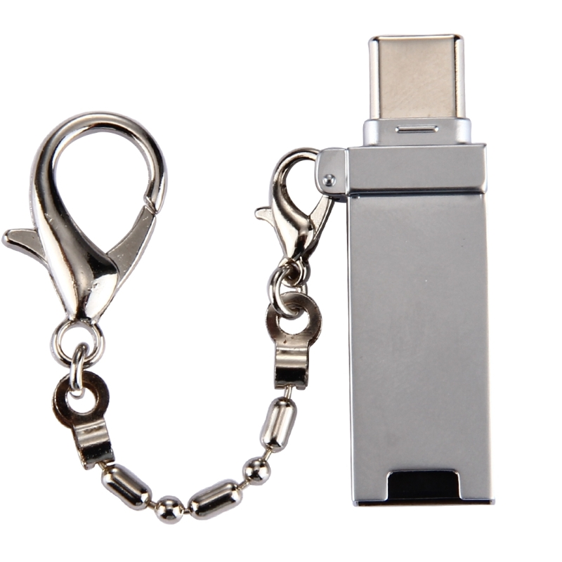 Mini Aluminum Alloy USB 2.0 Female to USB-C / Type-C Male Port Connector Adapter with Chain for Samsung Galaxy S8 & S8+ / LG G6 / Huawei P10 & P10 Plus / Oneplus 5 / Xiaomi Mi6 & Max 2  / and other Smartphones (Grey)