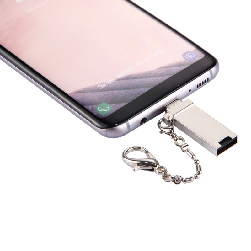Mini Aluminum Alloy USB 2.0 Female to USB-C / Type-C Male Port Connector Adapter with Chain for Samsung Galaxy S8 & S8+ / LG G6 / Huawei P10 & P10 Plus / Oneplus 5 / Xiaomi Mi6 & Max 2  / and other Smartphones (Gold)