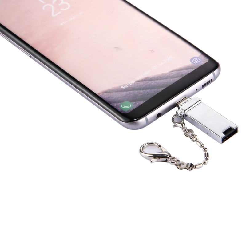 Mini Aluminum Alloy USB 2.0 Female to USB-C / Type-C Male Port Connector Adapter with Chain for Samsung Galaxy S8 & S8+ / LG G6 / Huawei P10 & P10 Plus / Oneplus 5 / Xiaomi Mi6 & Max 2  / and other Smartphones (Silver)