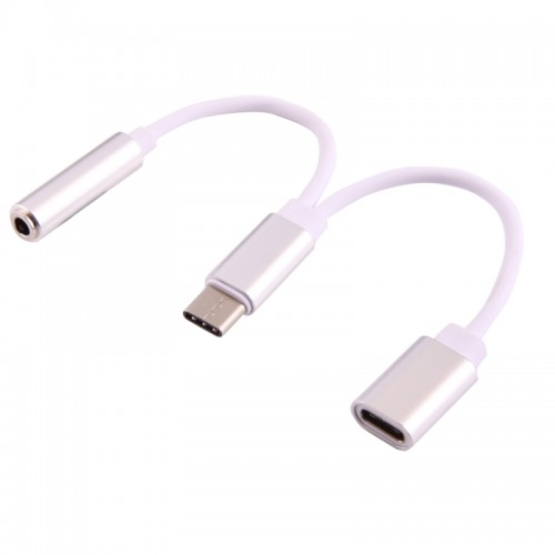 USB-C / Type-C Male to 3.5mm Female & USB-C / Type-C Female Audio Adapter for Samsung Galaxy S8 & S8+ / LG G6 / Huawei P10 & P10 Plus / Xiaomi Mi6 & Max 2 and other Smartphones (Silver)