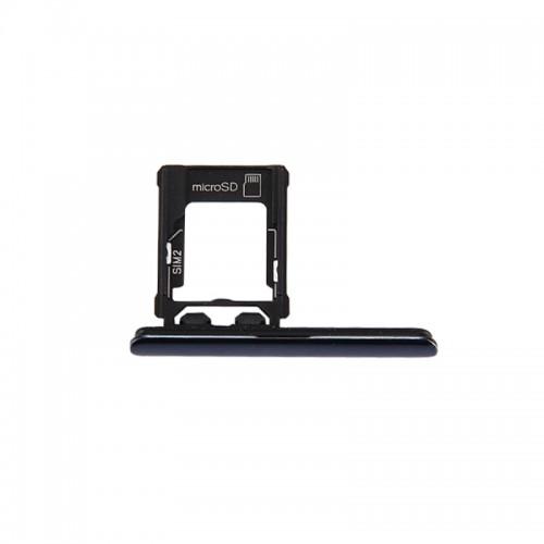 Replacement Sony Xperia XZ Premium (Dual SIM Version) Micro SD / SIM Card Tray + Card Slot Port Dust Plug (Black)