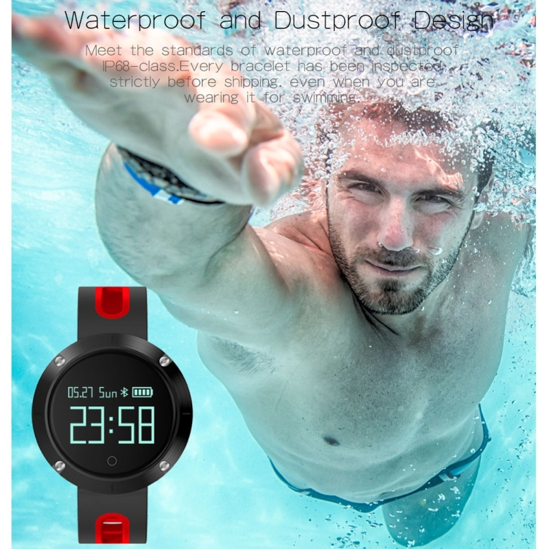 DOMINO DM58 0.95 Inch OLED Large Touch Screen Display Sport Smart Bracelet, IP68 Waterproof and Dustproof, Support Pedometer / Heart Rate Monitor / Blood Pressure Monitor / Notification Remind / Call Reminder / Sedentary Reminder / Sleep Monitor, Compatible with Android and iOS Phones (Grey)