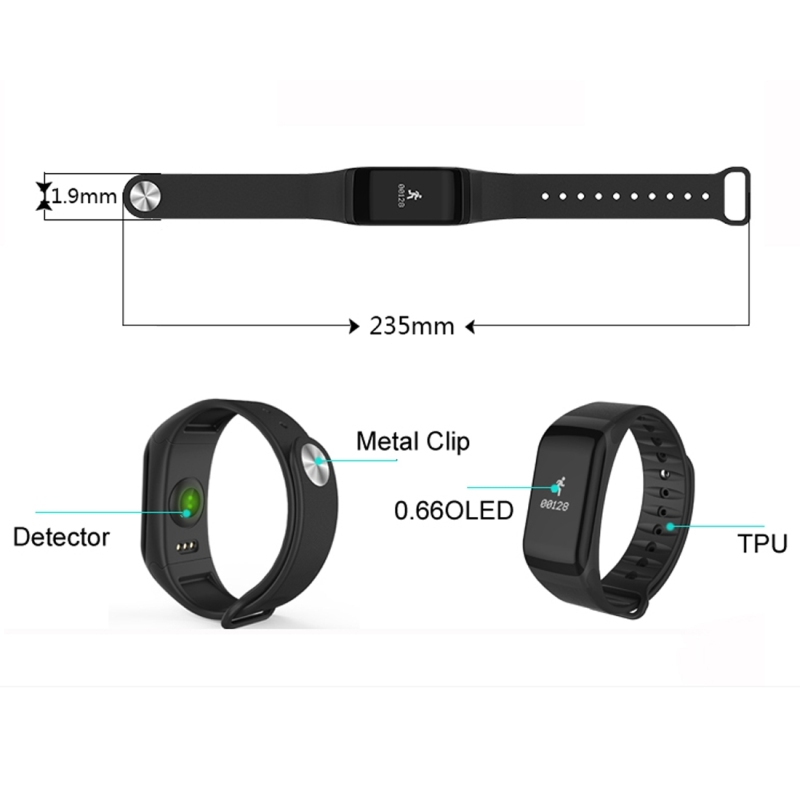 TLWT1 0.66 inch OLED Display Bluetooth Smart Bracelet, IP66 Waterproof, Support Heart Rate Monitor / Blood Pressure & Blood Oxygen Monitor / Pedometer / Calls Remind / Sleep Monitor / Sedentary Reminder / Alarm, Compatible with Android and iOS Phones (Blue)