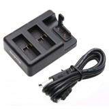 For GoPro HERO5 AHDBT-501 Dual Batteries + Remote Control Charger with USB Cable (Black)
