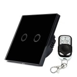 86mm 2 Gang 1 Way Tempered Glass Panel Wall Switch Smart Home Light Touch Switch with RF433 Remote Controller, AC 170V-220V (Black)