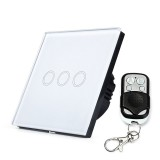 86mm 3 Gang 1 Way Tempered Glass Panel Wall Switch Smart Home Light Touch Switch with RF433 Remote Controller, AC 170V-220V (White)