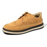 Men Casual Retro British Style Leather Brogue Oxfords Shoes
