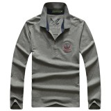 Fashion Men's Cotton Solid Color POLO Shirts Casual Turn-down Collar Long Sleeve T-shirt