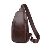 Men Genuine Leather Multifunctional Chest Bag Leisure Outdoor Sports Crossbody Bag Shoulder Bag