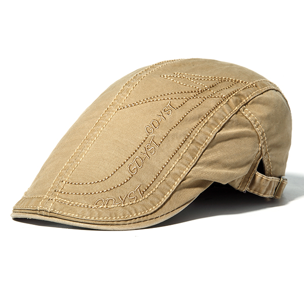 a45f10f5853 Mens Letter Embroidery Cotton Berets Hats Buckle Adjustable Sport Visor  Forword Caps