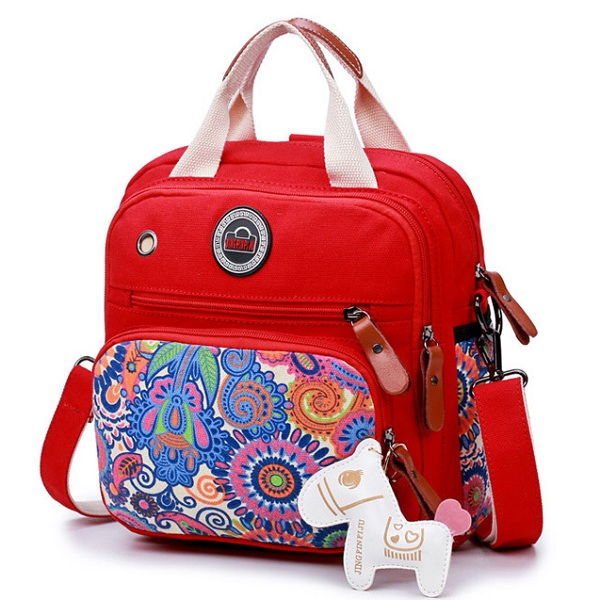 Women Canvas Large Capacity Lightweight Multi Function Travel Outdoor Crossbody Bag Backpack