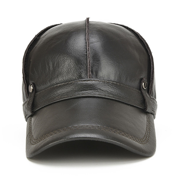 d5a615d9c55 Mens Unisex Genuine Leather Warm Baseball Cap With Ears Flaps Thick ...