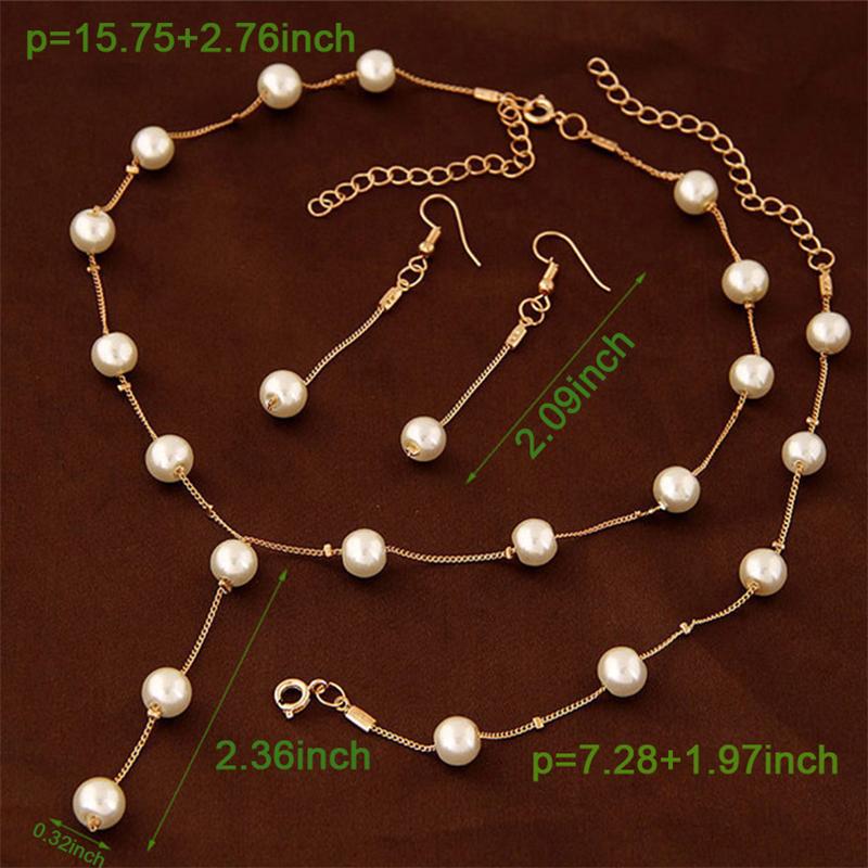 Imitation Pearls Jewelry Set Necklace Bracelet Earrings Silver/Gold-plated Women Jewelry