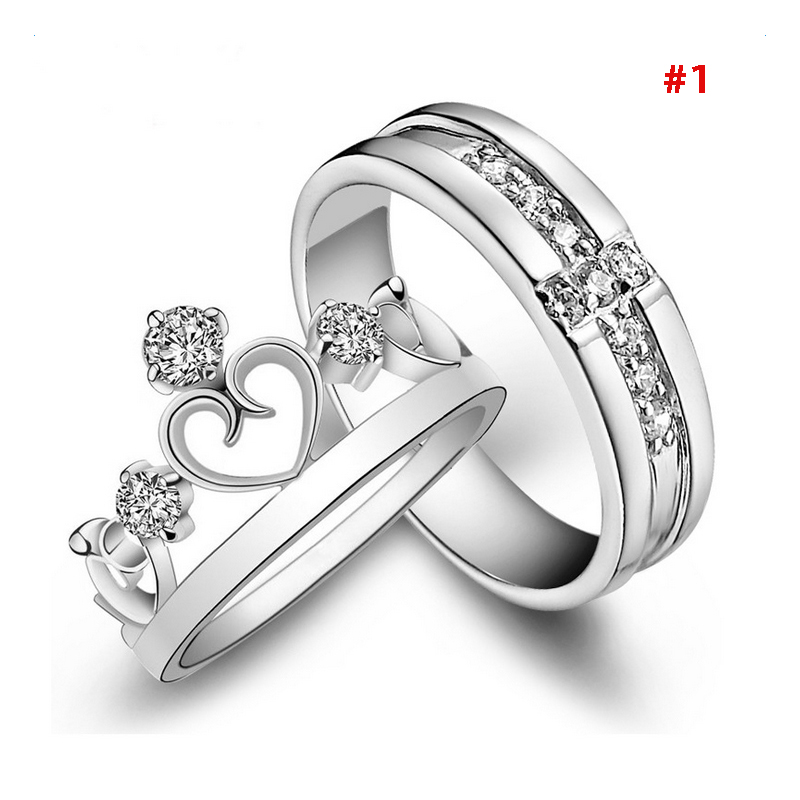 1 Pair 925 Silver Plated Heart Lovers Couple Promise Rings Set ...