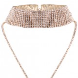 Luxury Full Diamond Pendant Chain Necklace Crystal Rhinestone Chunky Choker Collar Wedding Jewelry
