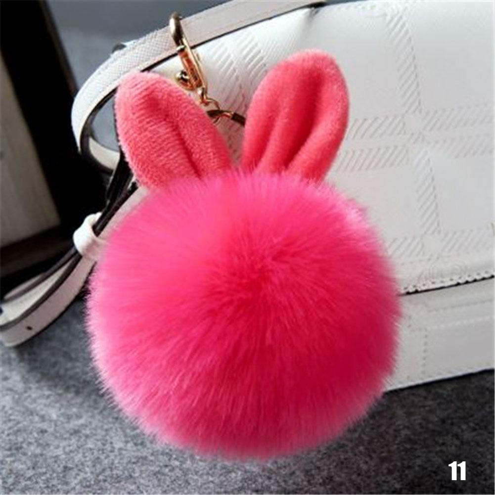 Plush Pendant Lady Bag Accessories Cute Rabbit Ears Keychain Fashion