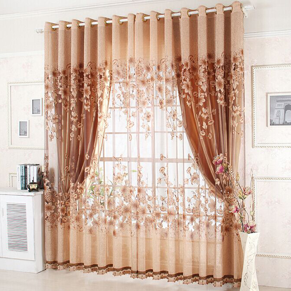Floral Morning Glory Brilliant Flower Tulle Curtain