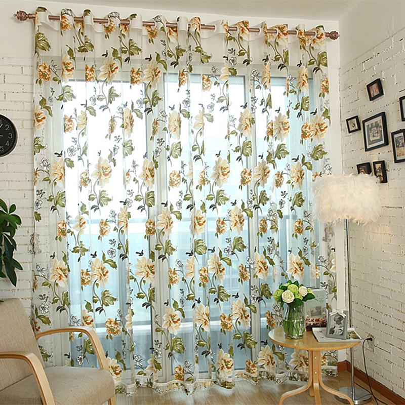 European Style Fl Peony Flower Pattern Tulle Curtain House Decor Door Panel Sheer Scarf Window