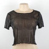 2017 Shiny Women Sexy Mesh Tops Shirt Short Sleeve Blouse Casual Party Loose Tank