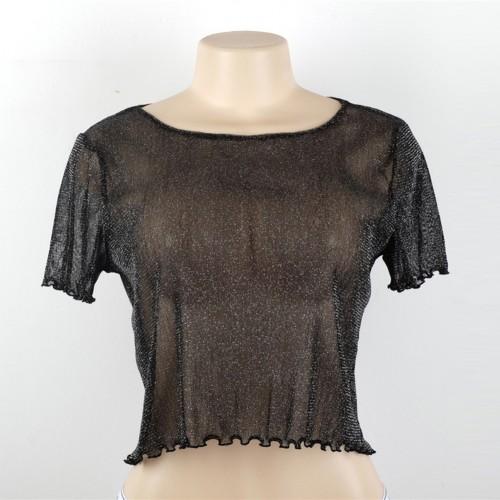 2017 Shiny Women Sexy Mesh Tops Shirt Short Sleeve Blouse Casual Party Loose Tank