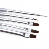 5pcs Silver Handle Nail Art Styling Design Painting Drawing Liner Brushes Manicure Dotting Pen Tool Set Kit
