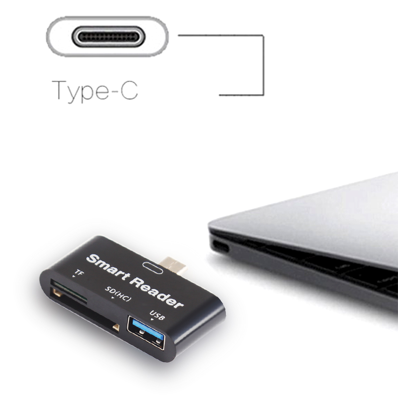 3 In1 USB 3.1 Type C USB-C TF Micro SD OTG Card Reader For Type-c Phone for Macbook