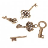 69Pcs Antique Vintage Bronze Skeleton Key Charms Set DIY Necklace Pendant Jewelry Handmade Making