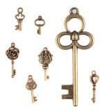 70Pcs Antique Vintage Bronze Skeleton Key Charms Set DIY Necklace Pendant Jewelry Handmade Making