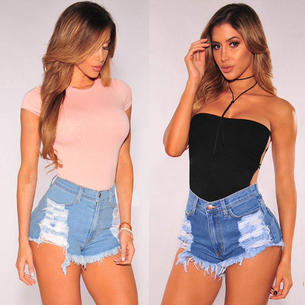 Fashion Women Summer Ripped High Waisted Denim Shorts Jeans Hot Beach Pants New