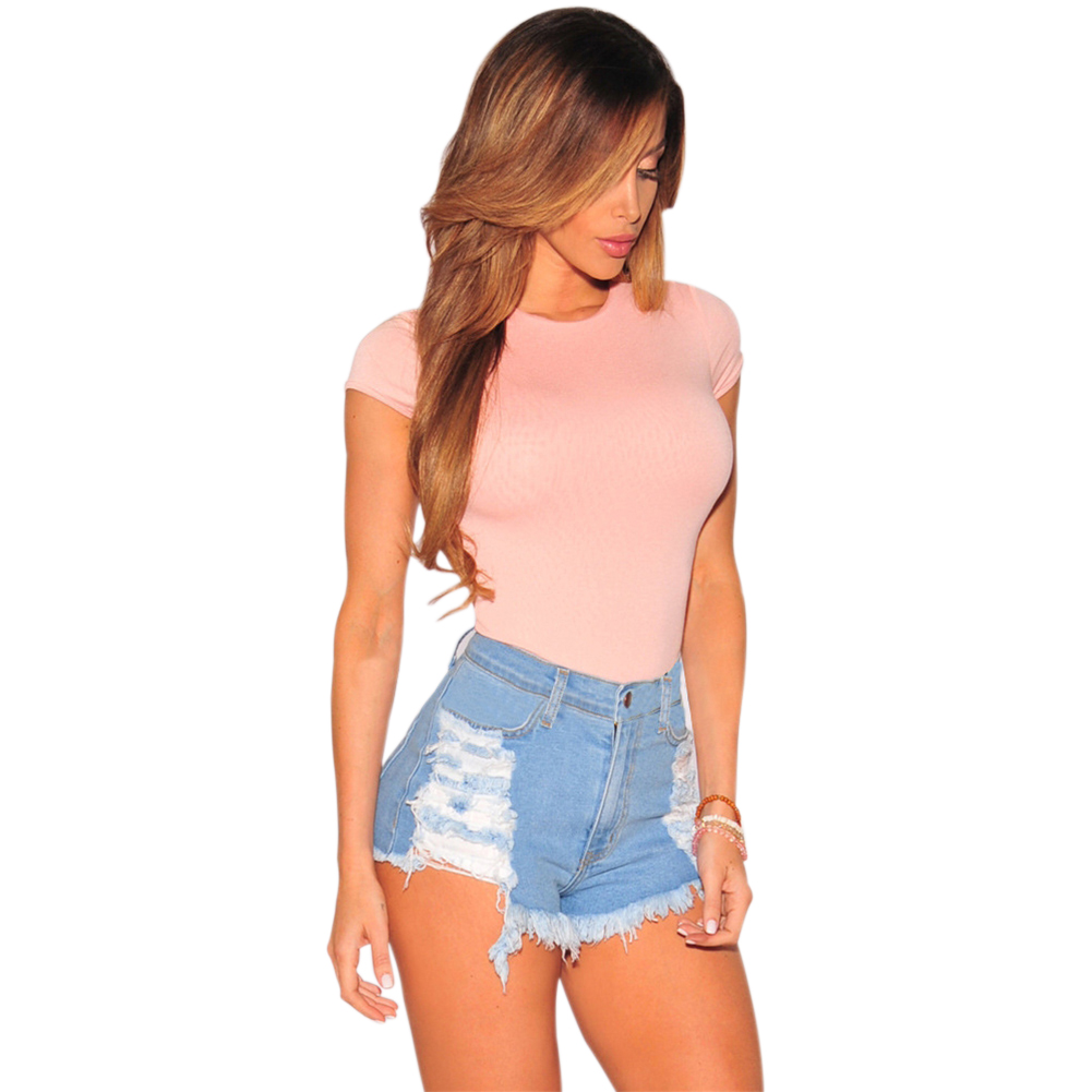 Fashion Women Summer Ripped High Waisted Denim Shorts Jeans Hot Beach Pants New