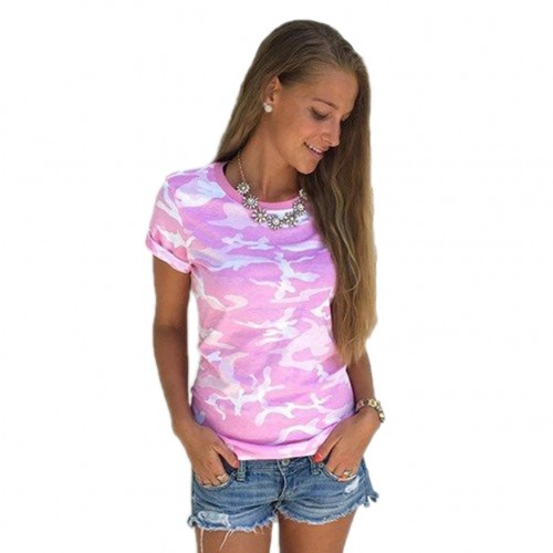 Women Summer Casual Camo Short Sleeve Tops Tee Shirt Loose T-shirt Blouse