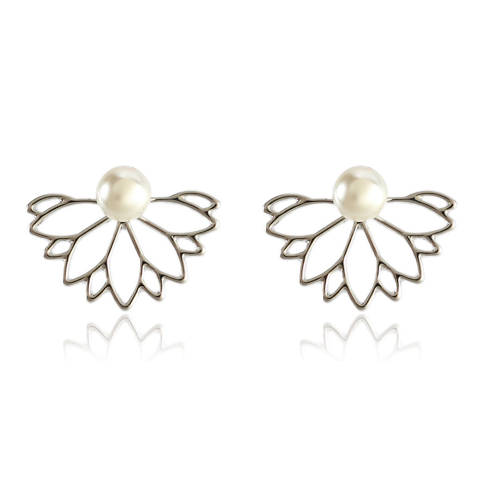 1 pair pearl hollow lotus flower earrings simple frontback ear stud 1 pair pearl hollow lotus flower earrings simple frontback ear stud for womens jewelry gift izmirmasajfo
