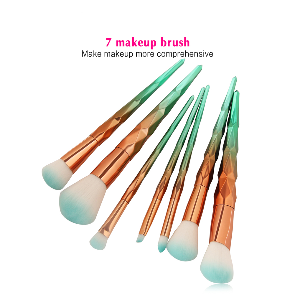 7Pcs Gold Blue Blending Powder Contour Concealer Blush Eyeshadow Eyebrow Beauty Makeup Brushes Set Face Comestic Tool