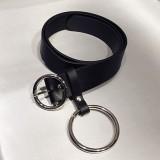 Retro Fashion Women Waist Belt Large Gold Metal Ring Fringe Pu Leather Belt Hoop