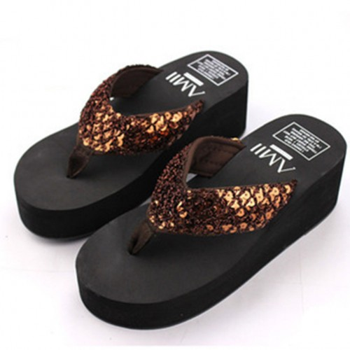 Sequins Women Shoes Beach Slippers Flip Flops Sandalias Plataforma Women Wedges Women Sandals Slippers