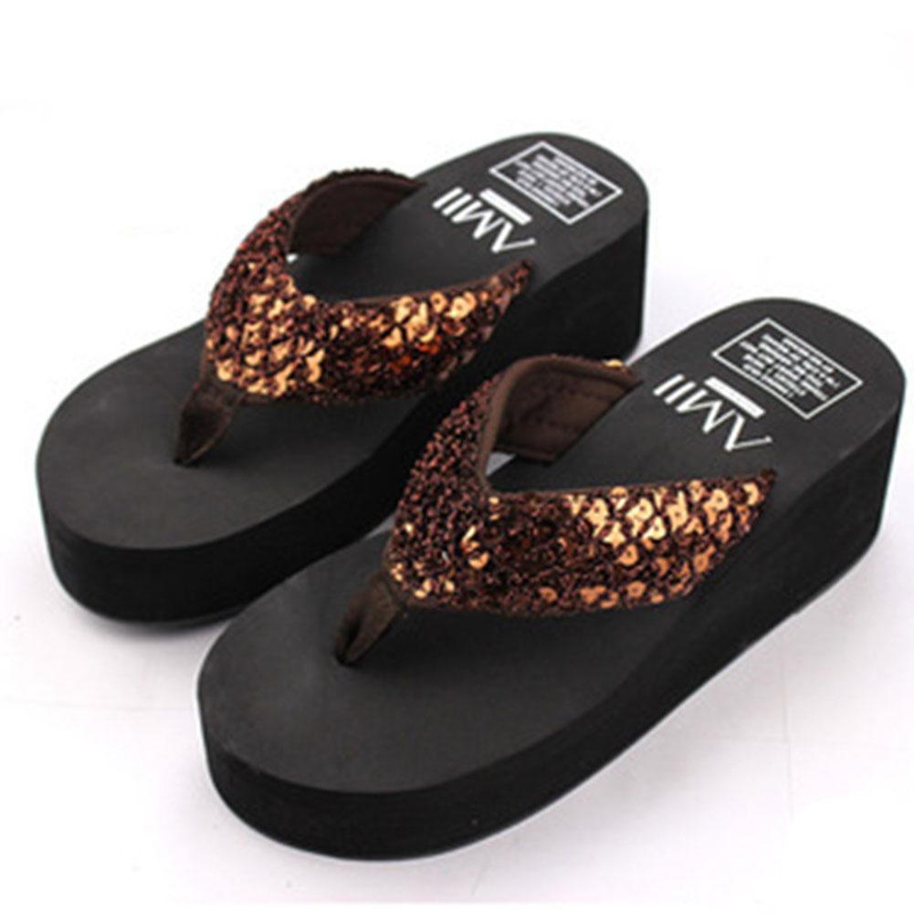 Sequins Women Shoes Beach Slippers Flip Flops Sandalias Plataforma Women Wedges Women Sandals Slippers Alexnld Com