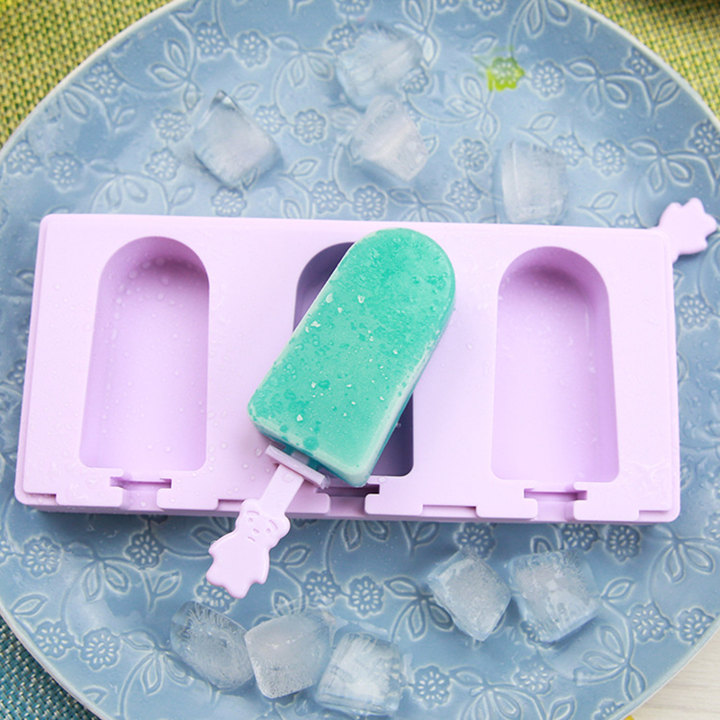 3 Cell DIY Silicone Ice Cream Mold Popsicle Molds Popsicle Frozen Ice Mould