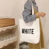 English Word Print Women's Casual Shoulder Canvas Bag Eco Shopping Handbags Tote Bag