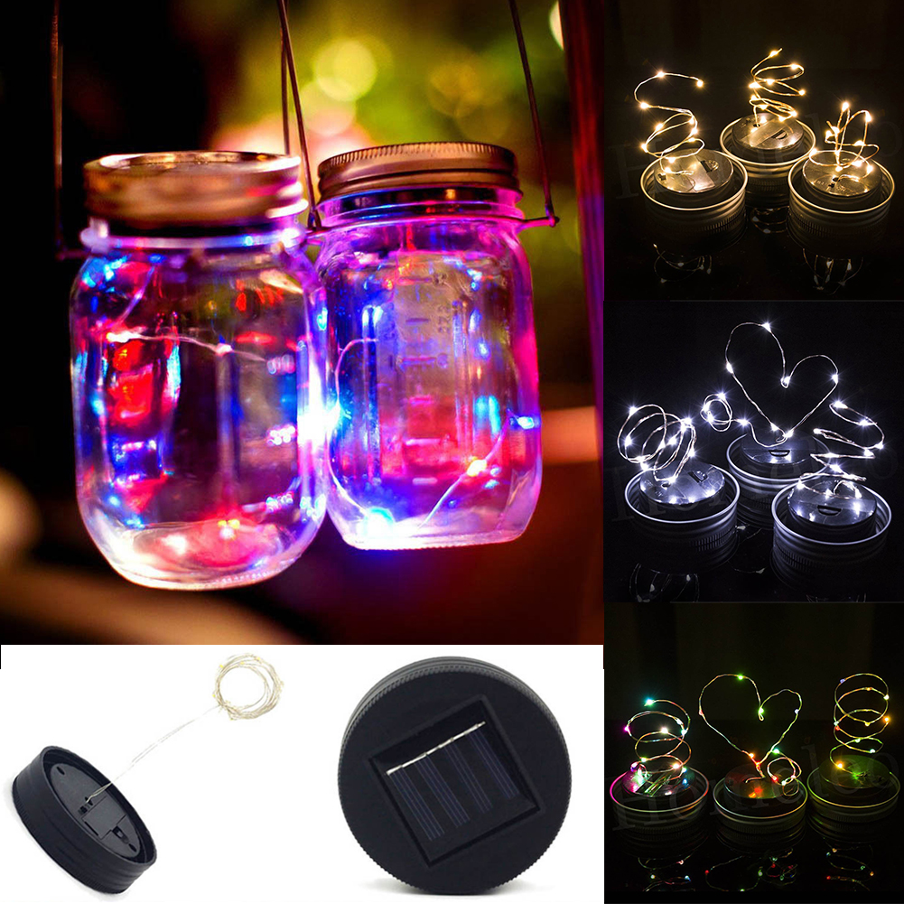 20 Led Fairy Light Solar Mason Jar Lid Lights Color