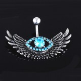 Fashion Angel Wing Belly Navel Button Ring Bar Blue Crystal Eye Stainless Steel Surgical Body Piercing Jewelry