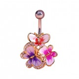 Fashion Gold Enamel Crystal Belly Navel Button Ring Bar Butterfly Medical Steel Surgical Body Piercing Jewelry
