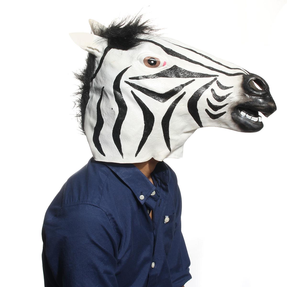 31c5b54c6f2db Funny Zebra Latex Head Mask Animal Cosplay For Halloween Costume Festival