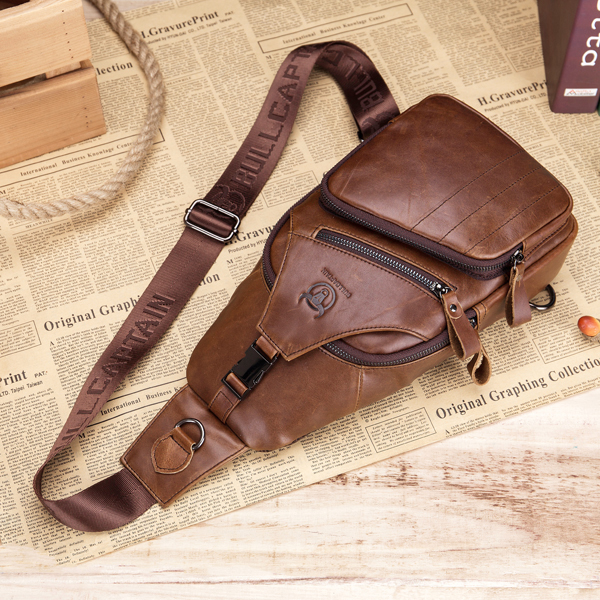 Bullcaptain® Men Leather Sling bag Crossbody Bag Large Capacity Chest Bag Shoulder Bag